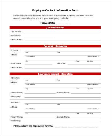 employee contact information form1