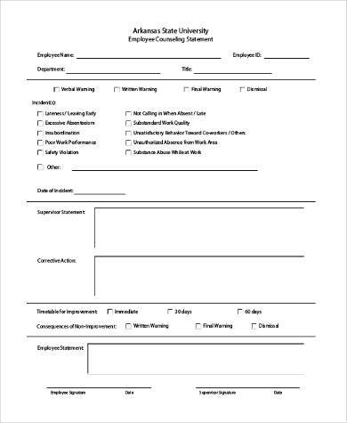 sample employee counseling form 10 free documents in word pdf. Black Bedroom Furniture Sets. Home Design Ideas