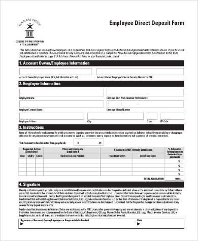 employee direct deposit form pdf