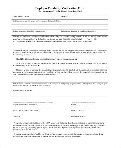 employee disability verification form