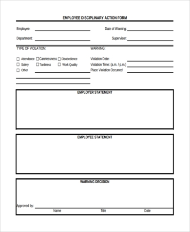 Sample Employee Disciplinary Action Form   Free Documents In Word