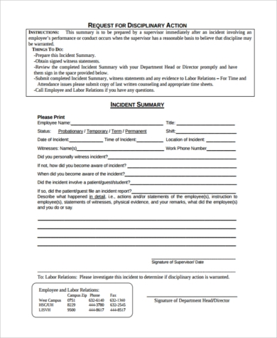 employee disciplinary action request form