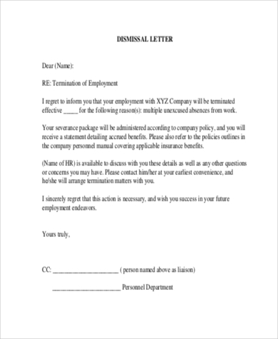 Employment Termination Sample Letters   Free Documents In Word Pdf