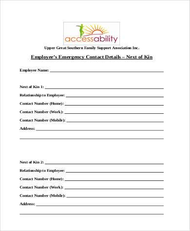 Employee Emergency Contact Form Samples   Free Documents In