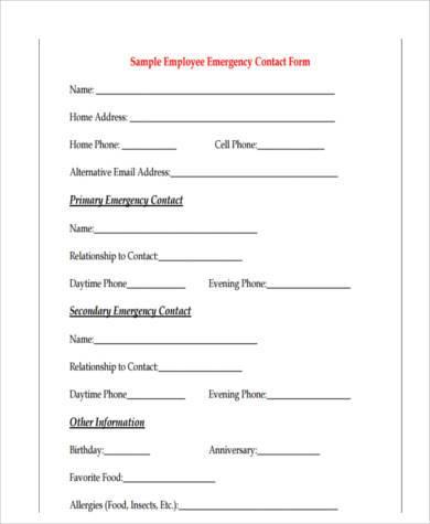 employee emergency contact form example