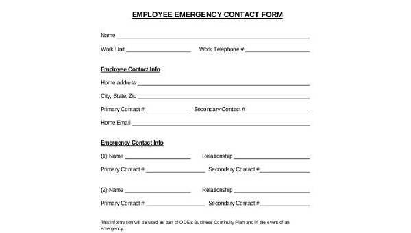 employee emergency contact form samples