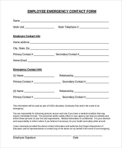 Employee Emergency Contact Form Emergency Medical Information