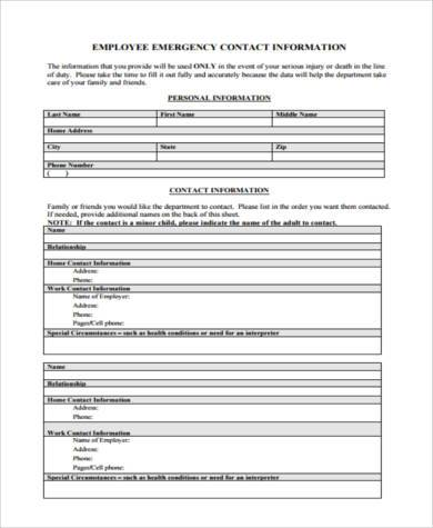 Contact Form Samples  Free Documents In Pdf