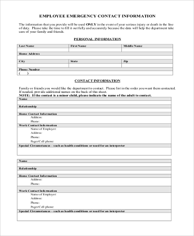 Sample Employee Emergency Contact Form   Free Documents In Word Pdf