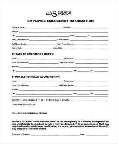 in case of emergency form for employees