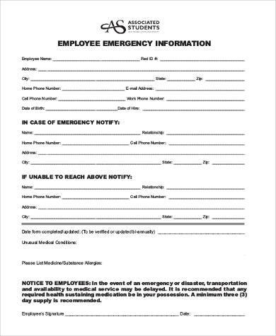 employee emergency information form1