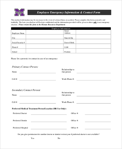 employee emergency medical contact form