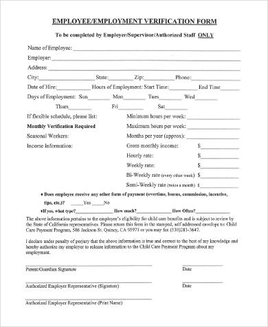 employee employment verification form