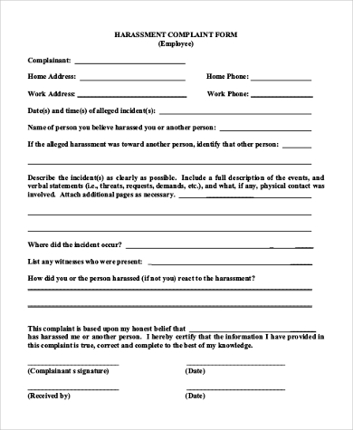 employee harassment complaint form