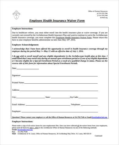 Sample Insurance Waiver Forms - 8+ Free Documents in Word, PDF