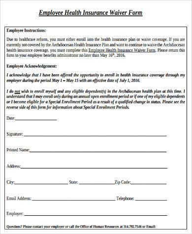 employee health insurance waiver form1