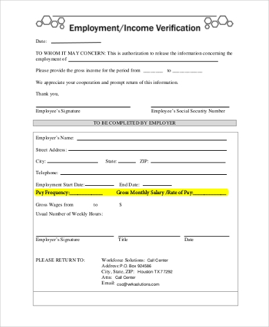 employee income verification form
