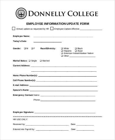 Sample Employee Information Forms - 8+ Free Documents In Word, Pdf