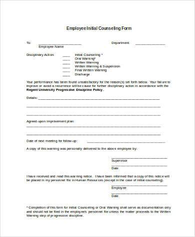 Sample Employee Counseling Form - 10+ Free Documents In Word, Pdf