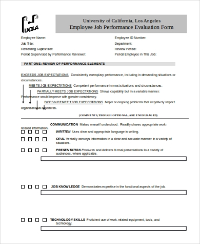 Job Performance Evaluation Form Samples - 9+ Free Documents In
