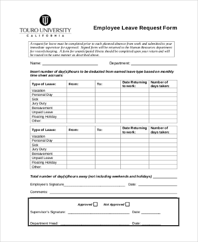 Leave Request Form Sample 10 Free Documents In Word Pdf