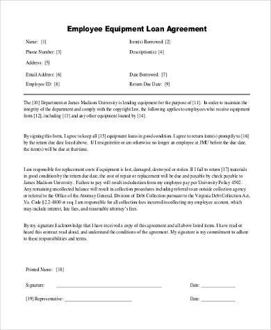 employee loan agreement form