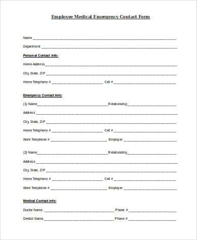 employee medical emergency contact form