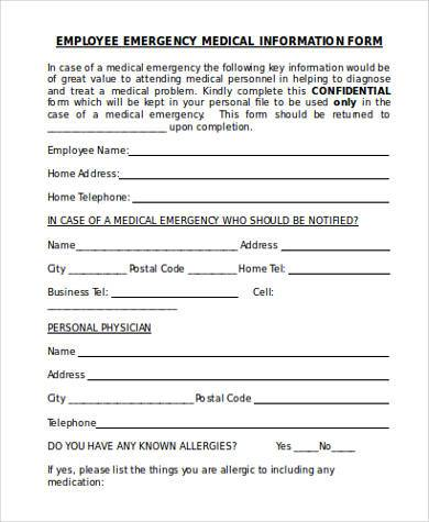 employee medical information form