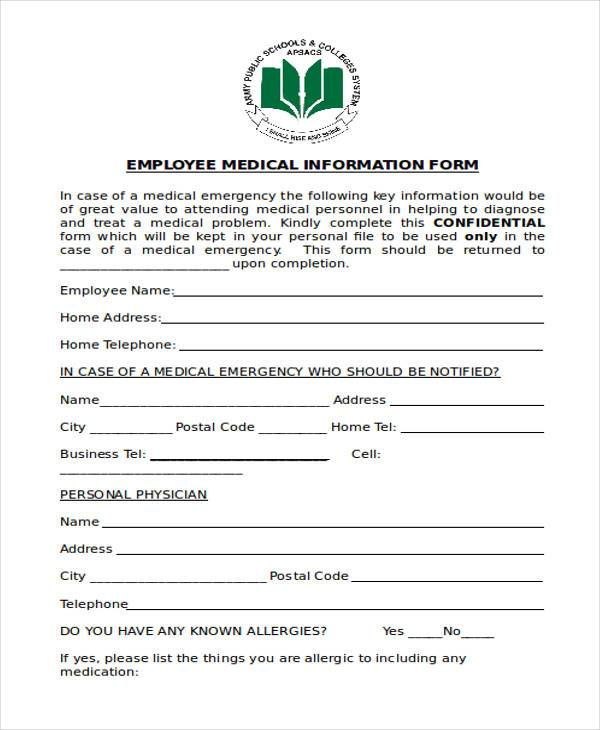 employee medical information form2