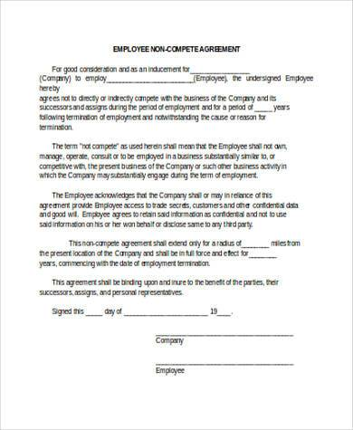 Sample Non Compete Agreement Forms   Free Documents In Word Pdf