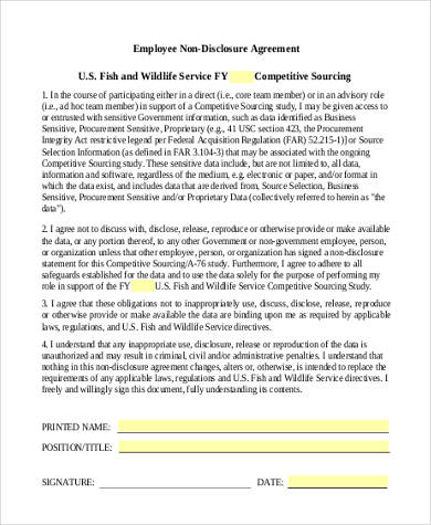 employee non disclosure agreement form