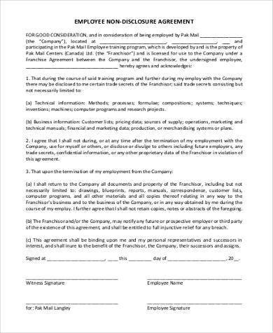Free 9 Standard Non Disclosure Agreement Samples In Pdf Word