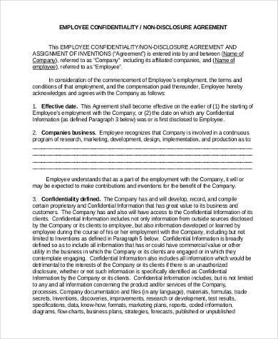 employee nondisclosure and confidentiality agreement form
