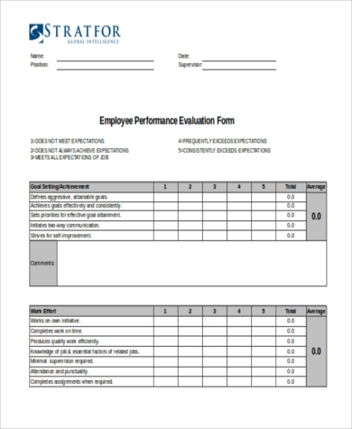 employee performance evaluation form excel