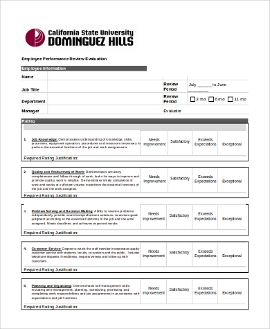 Sample Employee Performance Evaluation Form   Free Documents In