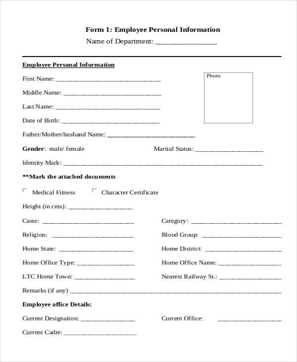 Sample Personal Information Forms   Free Documents In Pdf