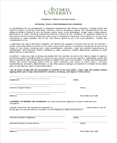 employee photo consent form