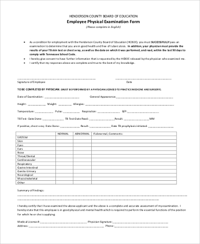 employee physical examination form Sample Physical Examination Form - 9  Free Documents in PDF