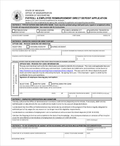 employee reimbursement direct deposit form