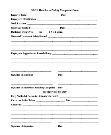 Employee Complaint Form Samples   Free Documents In Word Pdf
