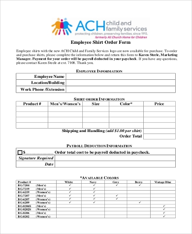 Sample Shirt Order Forms   Free Documents In Pdf