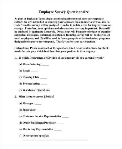 employee survey questionnaire form