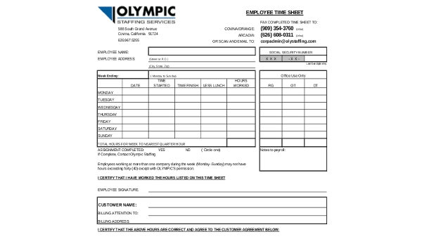 sample employee time sheet 7 free documents in word pdf excel