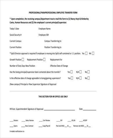 employee transfer form in pdf