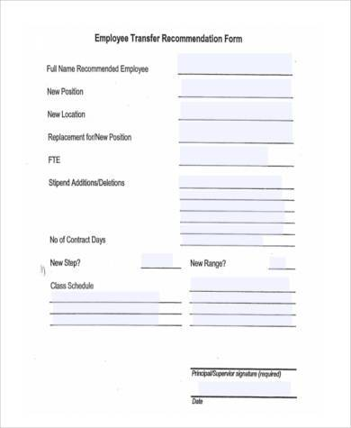 employee transfer recommendation form