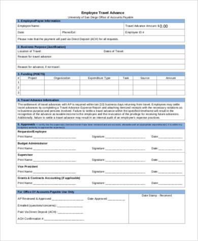 employee travel advance form