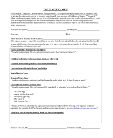 employee travel authorization form