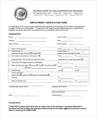 Employee Verification Form Samples   Free Documents In Word Pdf