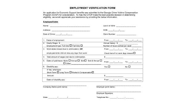past employment verification form