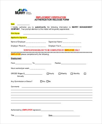 employee verification release form1